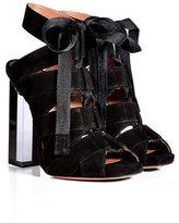 Alaia Suede Lace-Up Sandals