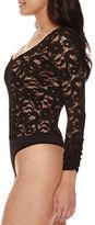 Bisou Bisou Long-Sleeve Lace-Up Back Bodysuit