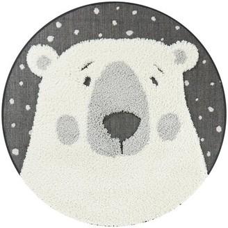 Zoomie Kids Round Oakpark Polar Bear Shag White Area Rug