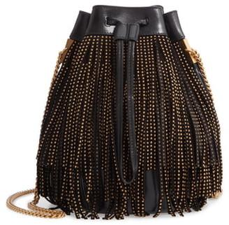 Saint Laurent Talitha Studded Fringe Leather Bucket Bag