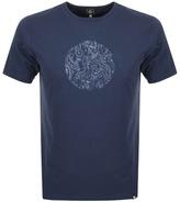 Pretty Green Thornley Paisley Logo T Shirt Navy