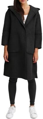 Belle & Bloom Walk This Way Black Wool Blend Oversized Coat
