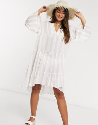Qed London striped smock dress in stone