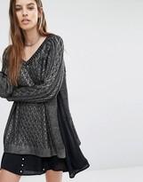 Religion Oversized Sweater In Metallic Knit