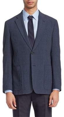 Emporio Armani Seersucker Plaid Wool Blazer