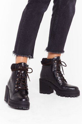 Nasty Gal Womens Lace-Up to No Good Heeled Hiker Boots - Black