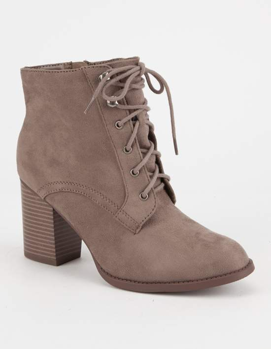 Soda Sunglasses Lace Up Womens Heeled Booties