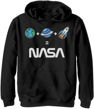 Licensed Character Boys 8-20 NASA Earth Plus Planet Plus Rocket Is NASA Emoji Graphic Hoodie
