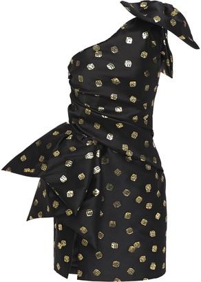 Moschino One-shoulder Bow-embellished Jacquard Mini Dress