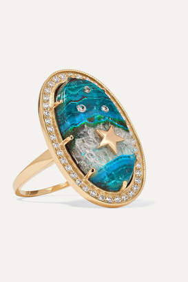 Andrea Fohrman 18-karat Gold, Chrysocolla And Diamond Ring