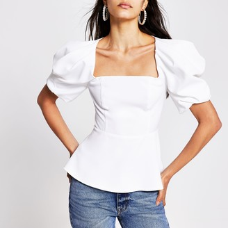River Island Womens White short puff sleeve square neck top