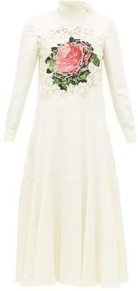 Valentino Rose-print Crepe Midi Dress - Womens - White Multi