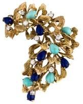 14K Diamond, Lapis Lazuli & Turquoise Brooch