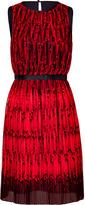 Tibi Red Pirouette pleated silk dress