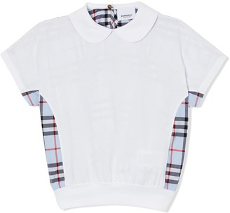 BURBERRY KIDS Check-Panelled Polo Shirt