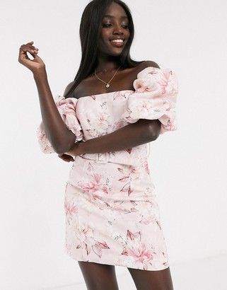 Ever New puff sleeve belted mini dress in pink floral