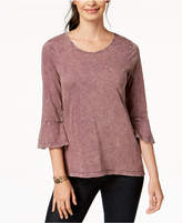 Style&Co. Style & Co Cotton Bell-Sleeve Bustle-Back Top, Created for Macy's