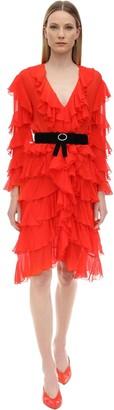 MARIANNA SENCHINA Ruffled Silk Midi Dress
