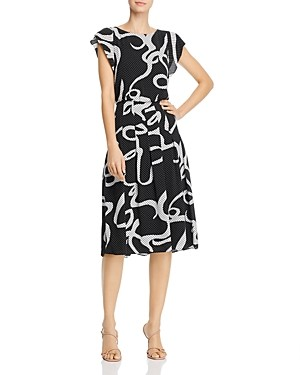 Adrianna Papell Dotted Ribbon Print Midi Dress