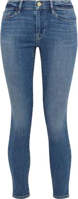 Frame Le Skinny De Jeanne Distressed Low-rise Skinny Jeans