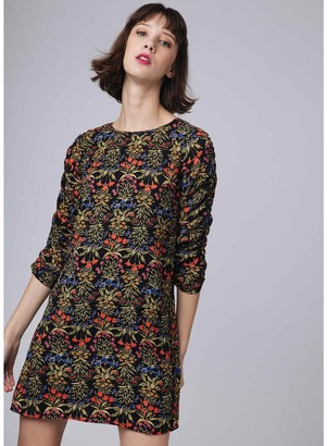 Compania Fantastica Short Floral Print Straight Dress with 3/4 Length Sleeves