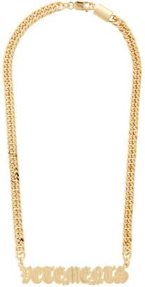 Vetements Gold Logo Script Necklace