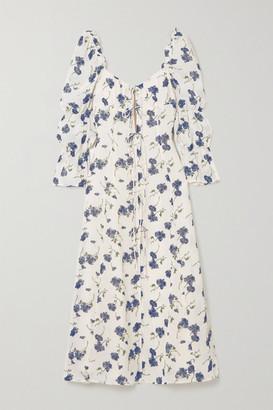 Reformation Roberta Tie-detailed Floral-print Georgette Midi Dress - Cream