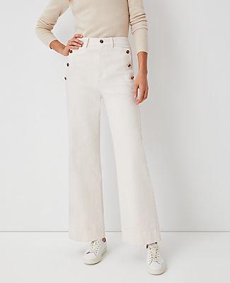 Ann Taylor Button Pocket High Rise Trouser Jeans In Creamy Cloud
