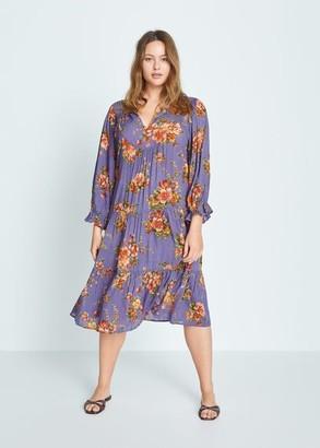 MANGO Violeta BY Flowy printed dress lilac - 10 - Plus sizes