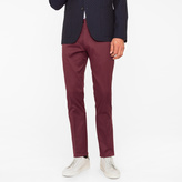Paul Smith Men's Slim-Fit Burgundy Stretch-Cotton Twill Trousers