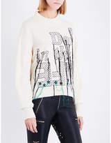 Sacai Text-embroidered wool jumper