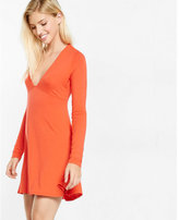 Express deep v fit and flare dress