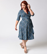 Kiyonna Plus Size Blue Medallion Print Essential Wrap Dress