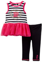 Juicy Couture Choose Juicy Striped Glitter Mesh Bottom Tank & Legging Set (Toddler Girls)