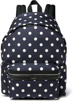 Saint Laurent Leather-Trimmed Polka-Dot Print Canvas Backpack