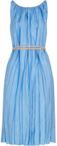 Nina Ricci Pleated Satin-twill Dress - Sky blue