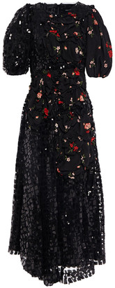 Simone Rocha Sequined Tulle And Floral-print Crepe De Chine Midi Dress
