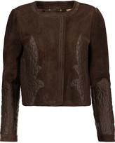 Chloé Leather-paneled suede jacket