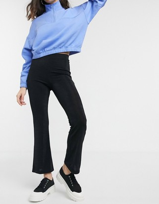 Monki basic jersey flared trousers in black