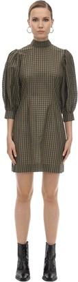 Ganni Seersucker Mini Dress W/ Puffed Sleeves
