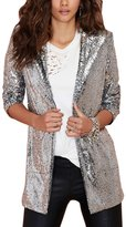 YOLL.Knit YOLL Women's Lapel Collar Punk Sequin Moto Jacket Blazer Suit Cardigan