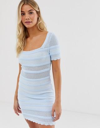 Asos Design DESIGN square neck crochet mini dress-Blue