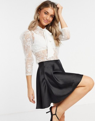 Morgan all over sheer lace blouse with tie bow detail in off white