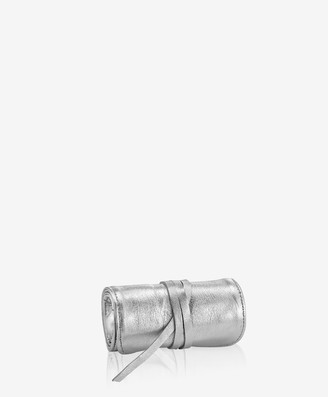 GiGi New York Small Silver Jewelry Roll, Metallics Leather