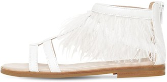 Il Gufo Smooth Leather & Faux Feather Sandals