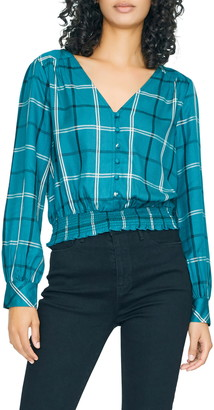 Sanctuary Fool For You Plaid Smock Waist Blouse