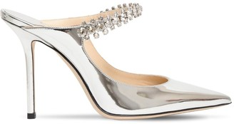 Jimmy Choo 100mm Bing Metallic Patent Leather Mules