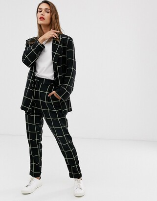 Asos Design DESIGN neon grid check dream tapered suit trousers-Multi