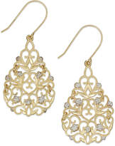 Macy's Filigree Flower Drop Earrings in 10k Gold and Sterling Silver