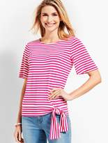 Talbots Coconut Stripe Topper With Tie